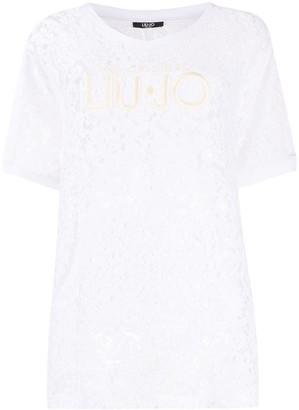 Liu Jo kangaroo-pocket lace T-shirt