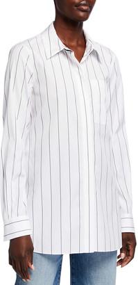 Lafayette 148 New York Ruxton Pencil Stripe Button Down Shirt