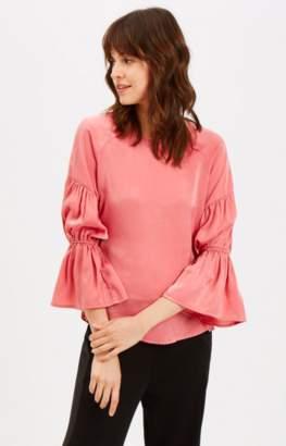 Traffic People Pink Satin Long Sleeve Satin Sting Blouse - Medium UK 10-12 | polyester | pink - Pink/Pink