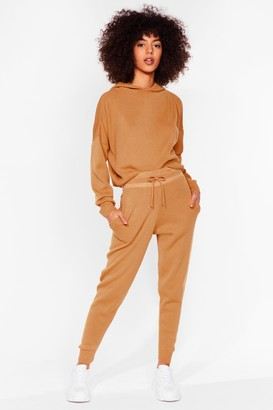 Nasty Gal Womens Morning Meeting Knitted Joggers Lounge Set - Beige - S