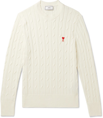 AMI Paris Slim-Fit Logo-Appliqued Cable-Knit Cotton And Merino Wool-Blend Sweater