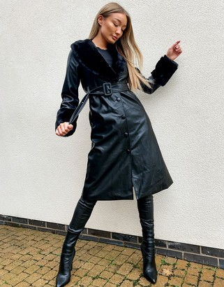 Qed London PU button down trench coat with fur trims in black
