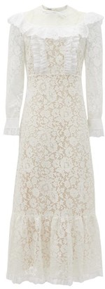 Miu Miu Floral-lace And Broderie-anglaise Cotton Dress - White