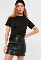 Missguided Petite Black Ripped Boyfriend T-Shirt