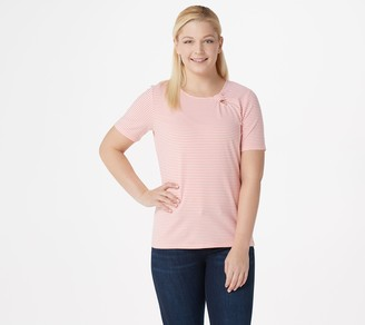 Denim & Co. Scoop-Neck Short-Sleeve Top with Keyhole Detail