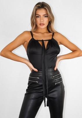 Missguided Tall Black Satin Ruched Bust Cami Top