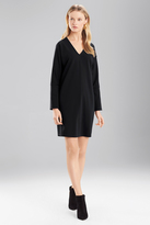 Josie Natori Double Knit Jersey VNeck Dress With Sleeves