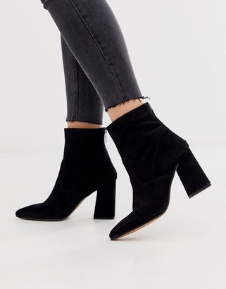 Aldo suede block heel pointed boots