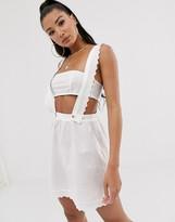 Asos Design DESIGN broderie detail beach dungaree dress