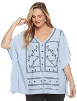 Dana Buchman Plus Size Embroidered Caftan Top