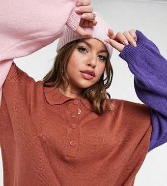 ASOS DESIGN Curve oversized rugby style jumper with collar in colour block