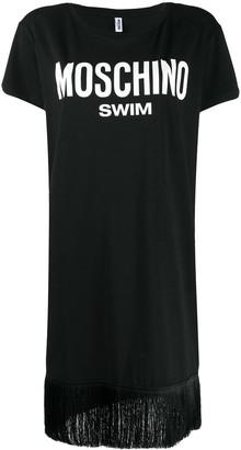 Moschino logo-print fringe-hem T-shirt