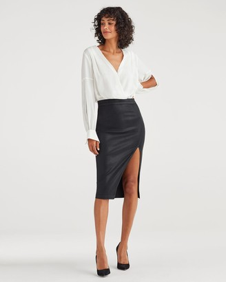 7 For All Mankind B(air) Pencil Skirt with Side Slit in Coated Black