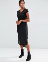 Vero Moda Jersey Ribbed Short Sleeve Midi Dress