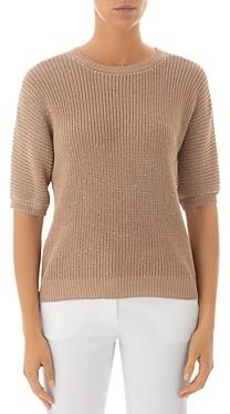Peserico Short Sleeve Cotton Crewneck Sweater