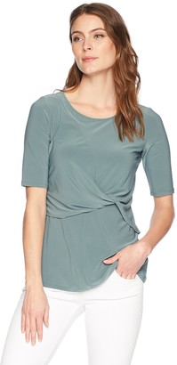 Chaus Women's Elbow SLV Knot Front Top