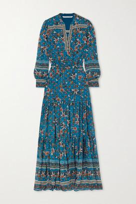 Veronica Beard Sama Tiered Floral-print Fil Coupe Silk-blend Georgette Maxi Dress - Blue