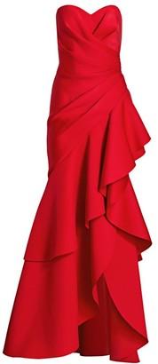 Badgley Mischka Strapless Ruffle Scuba Gown