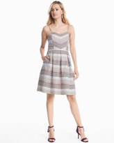 White House Black Market Sleeveless Striped Fit-and-Flare Dress
