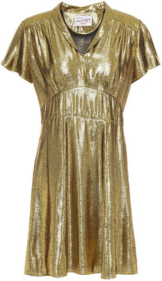 HVN Morgan Gathered Silk-lame Mini Dress