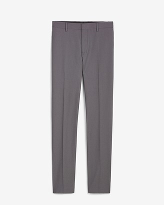 Express Slim Charcoal Textured Cotton-Blend Suit Pant