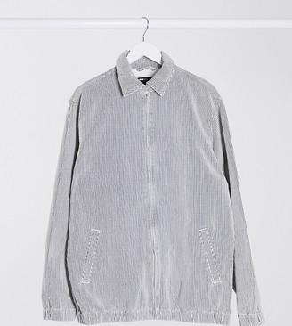 ASOS DESIGN Tall denim harrington jacket in white pinstripe