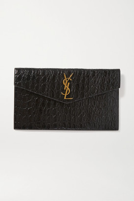 Saint Laurent Uptown Croc-effect Leather Pouch - Black