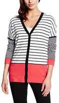 Basler Women's Stripe Navy Red / White Cardigan Striped Long Sleeve Cardigan