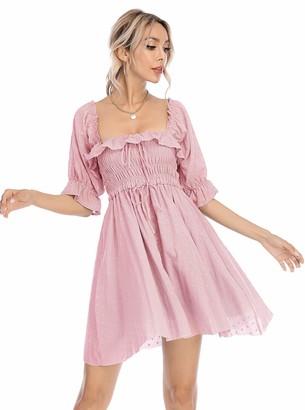 R.Vivimos Women Vintage Retro Polka Dot Mini Dress Square Neck Short Sleeve A-Line Casual Dress (XS