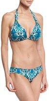Ach'e A. Che Azteca Marlow Floral-Print Halter Swim Top, Blue Pattern