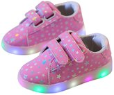 Topteck Girls Boys Led Light Up Children Sneakers Stars Print Casual Shoes with Flashing Different Colors on the Soles(Infant/Toddler/Little Kids)