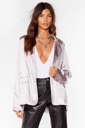 Nasty Gal Womens Business Meets Pleasure Satin Relaxed Blazer - Grey - 6