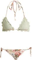 Zimmermann Aerial crochet and floral-print bikini