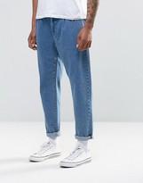 Asos Double Pleat Straight Leg Jean In Light Blue