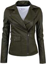 Tom's Ware Womens Fashionable Assymetrical Zip-up Faux Leather Jacket TWPJW01-02-KHAKI-US XL
