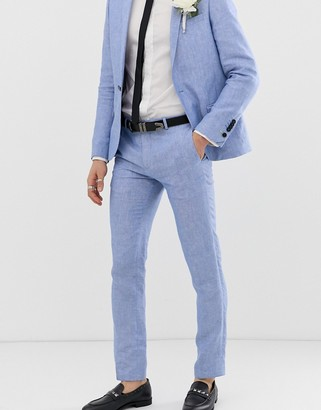 Twisted Tailor super skinny suit pants in blue linen