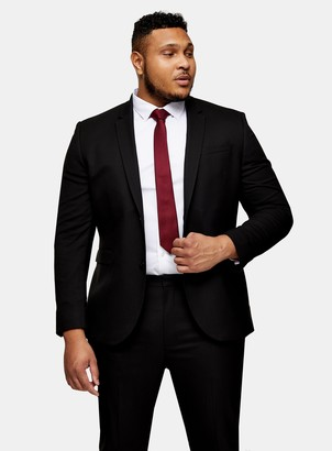 Topman BIG & TALL Black Skinny Fit Single Breasted Suit Blazer With Notch Lapels