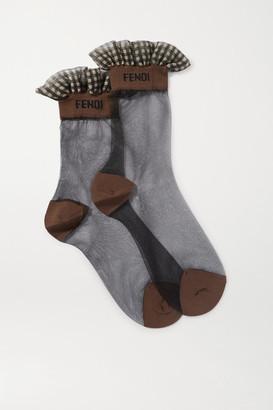 Fendi Ruffled Gingham-trimmed Stretch-tulle Socks - Black
