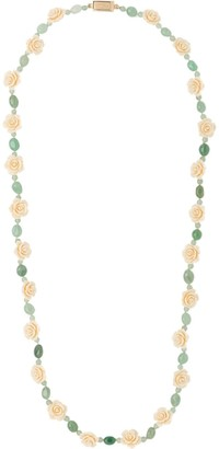 Prada floral and bead embellished necklace