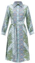 D'Ascoli Theodora Printed Silk Midi Shirtdress - Womens - Blue Multi