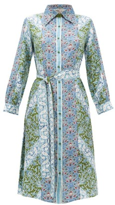 D'Ascoli Theodora Printed Silk Midi Shirtdress - Womens - Blue Multi