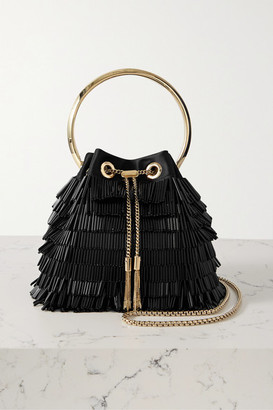 Jimmy Choo Bon Bon Beaded Satin Shoulder Bag - Black