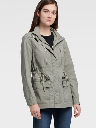 DKNY Women's Cargo Jacket With Drawcord Waist - Sage - Size M