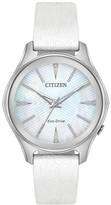 Citizen Women's Eco-Drive Silver Dial White Leather Strap, 36mm