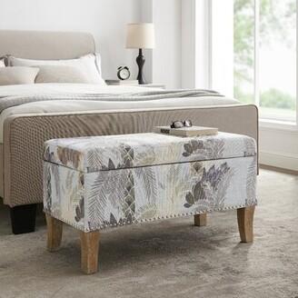 Winston Porter Pierro Upholstered Flip top Storage Bench Color/Pattern: Gray/ Floral