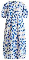 Lemaire Floral-print curved-sleeve silk midi dress