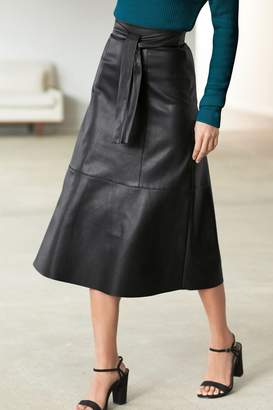 Next Womens Black Belted Faux Leather Skirt - Black