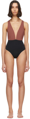 Haight Black and Burgundy Marina One-Piece Swimsuit