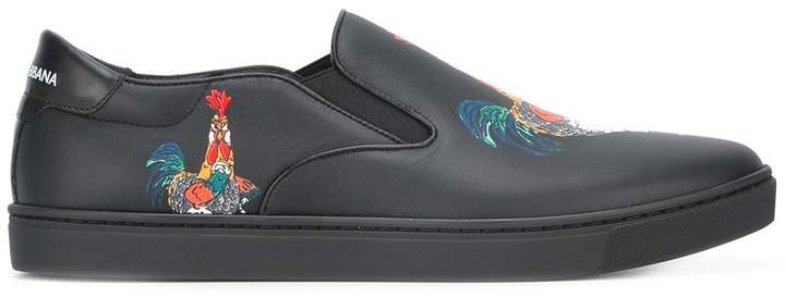 Dolce & Gabbana London slip-on rooster print sneakers