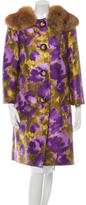 Michael Kors Fur-Trimmed Floral Print Coat w/ Tags